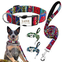 Nylon Tribal Personalised Dog Collar and Leads Engraved Name ID Collar Tag S M L