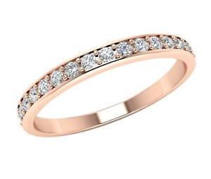 Round Cut Diamond I1 G 0.30 Ct Anniversary Ring Pave Set 2.20MM 14K Yellow Gold