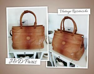 ❤J&D Paris*Vintage Reisetasche*Weekender*XXL Tasche*Shopper*Braun*Reptiloptik❤