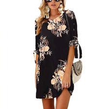 Damen Blumen Hemdkleid Longshirt Freizeitkleid Tunika Hemd Bluse Oberteile Tops