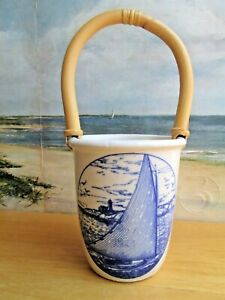 "Vintage CHATHAM POTTERY ""CAT BOAT"" Utensil Caddy CAPE COD MA. BAMBOO HANDLE"