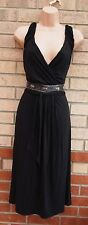 G21 BLACK BELTED BEADED STUDDED SILVER V NECK SKATER A LINE PARTY DRESS 16 XL
