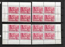 pk25654:Stamps-Canada #411 Map and Crane $1.00 PL1 Plate Block Set - MNH