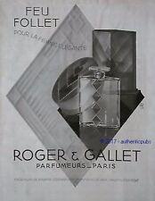 PUBLICITE PARFUM ROGER & GALLET FEU FOLLET JEAN M. FARINA DE 1931 FRENCH AD PUB