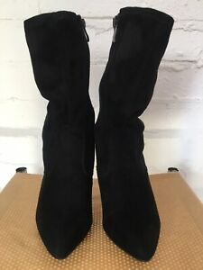 No Dout Faux Suede Black Boots Size 6 Calf Height Side Zip Fasten 4in Heel