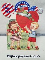 """❤✈Vintage Die Cut Valentine """"Don't keep me UP in the Air"""" Boy Girl Planes Hearts"""