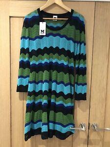 Missoni Blue Green Wave Knit Dress, IT 46, UK 14, BNWT, RRP £370