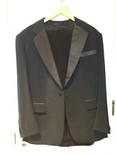 Men's Tailor Made Suit Midnight Blue Silk Black Satin Trim Size 44,(See Below)