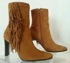 Predictions Leather Collection (Sz 7.5) Suede Tan-Fringe Boots-Western-High Heel