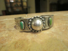 EXTRA FINE Old Fred Harvey Era Navajo Sterling Turquoise SNAKE DOME Bracelet