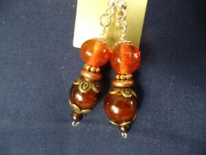 Beautiful Handcrafted Dangling Earrings Fall Color Beads