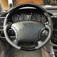 Toyota 4RUNNER 2003-2009 Black Wood PIANO genuine leather steering wheel-SPORTS
