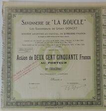 Nouvelle annonce ACTION DE 250 FRANCS, SAVONNERIE DE LA BOUCLE, MARSEILLE 1925