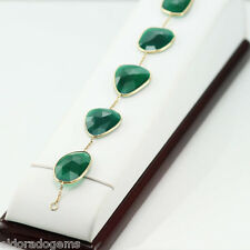 GEMSTONE BY THE YARD BRACELET GREEN ONYX 5 STATION & 14K YELLOW GOLD 7.5 INCHES