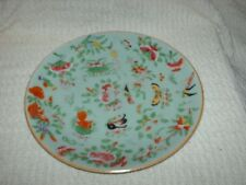 antique chinese plate hand painted butterflies & flowers 25 cm wide
