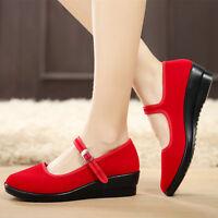 Womens Ladies Mid Wedge Heel Mary Jane Dance Office Work Formal Strap Shoes  *