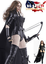 1/6 Black Widow Sexy Killer Leather Costume Set For Hot Toys Phicen Female USA
