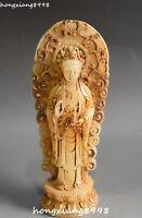 Old China Natural White Jade Gilt Kwan-yin Guan Yin Bodhisattva Backlight Statue