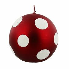 Large Red Spotted Bauble Christmas Candle - Luxury Christmas Candle Red and