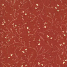 BY 1/2 YD~MODA FABRICS~13552-14~FRENCH GENERAL FAVORITES~TAN SPRIGS ON ROUGE RED