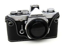 Leather Olympus OM1, 2, 3, 4 Black with White Stitching Half Case - BRAND NEW