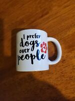 "Ceramic Cup/Mug-Royal Norfolk ""I Prefer Dogs Over People"" Red paw Print-12oz-New"