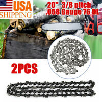 2x 20'' inch Chainsaw Chain 325Pitch .058Gauge 76DL Saws Spare Parts Replacement