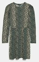 ZARA WOMAN NWT SALE! PRINTED FLOWING DRESS SNAKE GREEN SIZE M REF: 1165/154