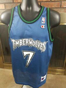 Vintage Rare Terrell Brandon #7 Minnesota Timberwolves Champion Jersey Youth L