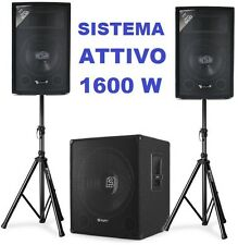 IMPIANTO AUDIO AMPLIFICATO 1600W 1 SUBWOOFER ATTIVO + 2 CASSE + 2 STATIVI CAVI