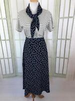 Leslie Fay Size Large Skirt Set Stars Patriotic Top w Fit Flare Midi Skirt