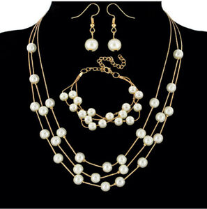 White Cultured Freshwater bead Pearl Necklace Earring Bracelet Stud Set Gift