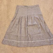 Eddie Bauer 4 Womens Linen Smocked Knee Length Tan Skirt