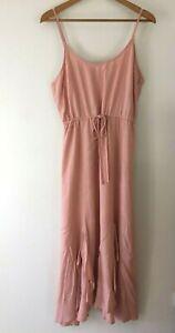 Sunny Girl Linen Maxi Dress Size 12 Pink Strap Front Slits Frill Bottom