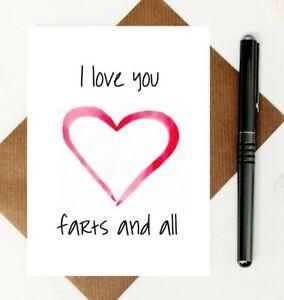 Fart joke love card - Valentine's Day card - fart anniversary card - funny card