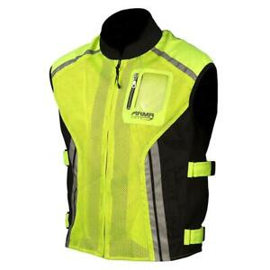 ARMR Reflective Motorcycle Motorbike High Vis Vest - Fluo Yellow