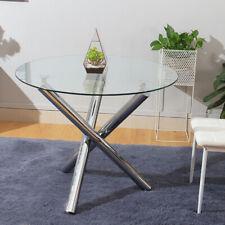Modern Round Glass Dining Table Set White Black Chair Kitchen Bistro Chrome Leg