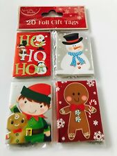 ** 20 CHRISTMAS FOIL GIFT TAGS VARIOUS DESIGNS NEW ** PRESENT WRAPPING HO HO HO