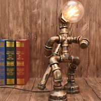 US Rustic Desk Lamp Industrial Retro Iron Water Pipe Table Light Creative Lamps