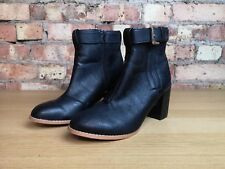 George Faux Leather Black  Block Heel Womens Ankle Boots Size 6 UK Zip Up