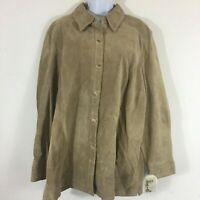 Valerie Stevens Womens Jacket sz 3X Beige Leather Button Front MSRP $150 NB10