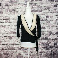 Max Mara Women's Silk Cashmere Ruffle Wrap Cardigan Sweater Black Beige Trim 6