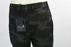BLK DNM Green Camo Military Print Pleated Pants Trousers Size 36 NWT