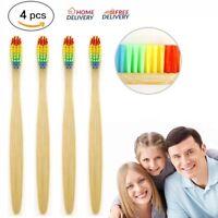 4Pcs Medium-Bristle Bamboo Toothbrush Rainbow Wood Teeth Brush Fibre Wooden Hand