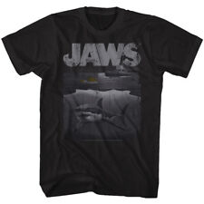 Jaws Movie Mens T-Shirt Black Heather New Licensed Shark Boat Tee Sizes SM - 5XL