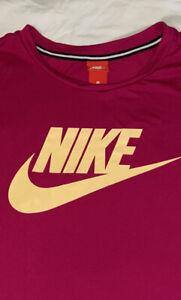 Nike 3X Plus Size Sportswear Tee Shirt Dark Pink with Light Yellow Nike Logo