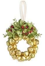 "Mistletoe Wreath Bell Decor Gold Wall Door Hanging Christmas 6"" Ornament Gift"