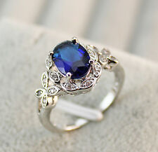 18K White Gold Filled - Navy Blue Topaz Butterfly Hollow Prom Ring SZ 6/7/8/9/10