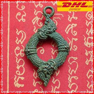 Naga Snake Pendant Thai Amulet Brass Coated Magic Serpent Money Rich Good Charm
