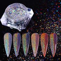 0.5g Nagel Glitzer Pulver Holographic Nail Art Glanz Regenbogen Chrom Pigment